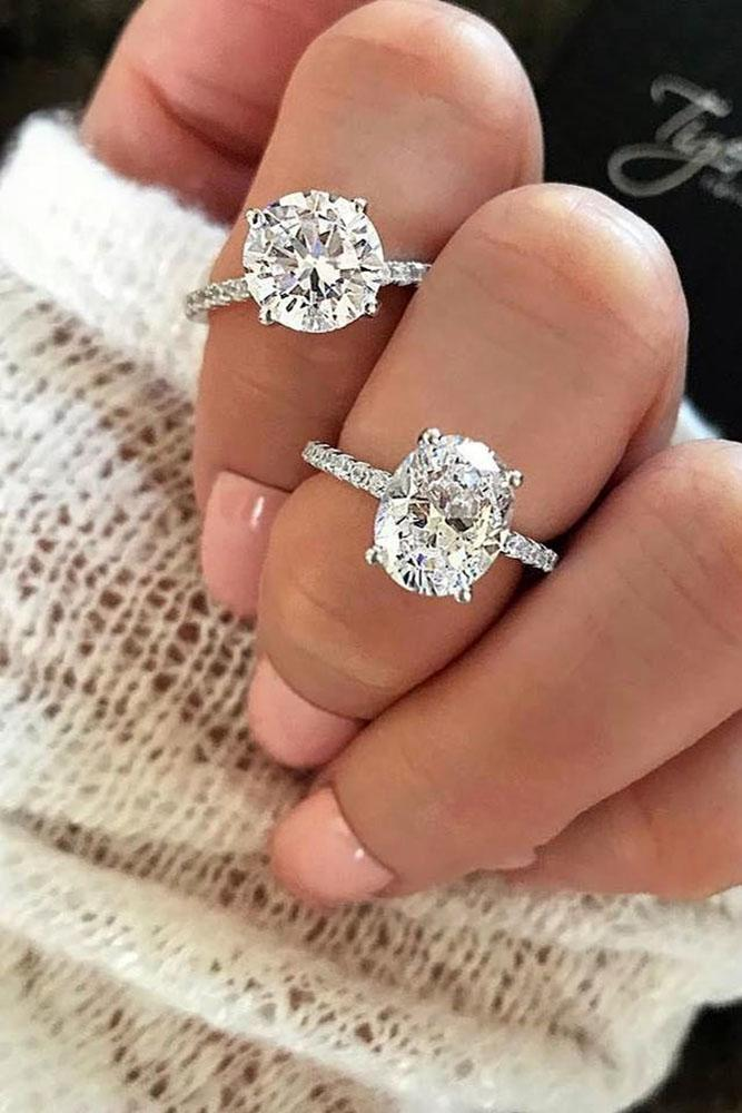 simple engagement rings round cut engagement rings white gold engagement rings solitaire engagement rings diamond pave band
