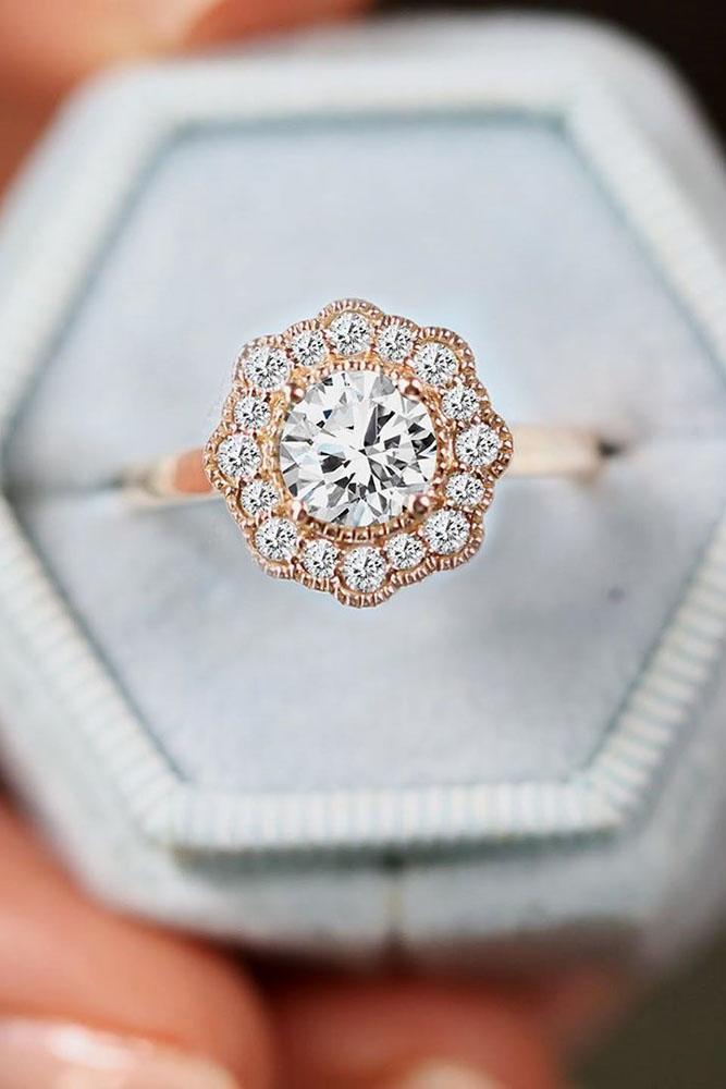 unique engagement rings rose gold engagement rings round engagement rings halo engagement rings ring boxes