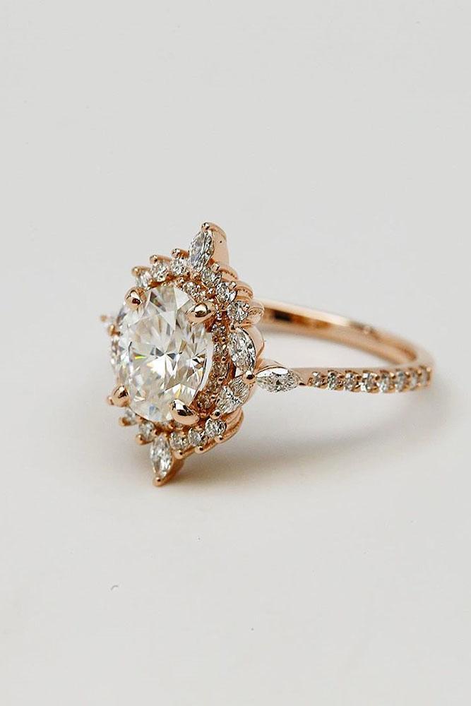 unique engagement rings rose gold engagement rings oval engagement rings halo engagement rings