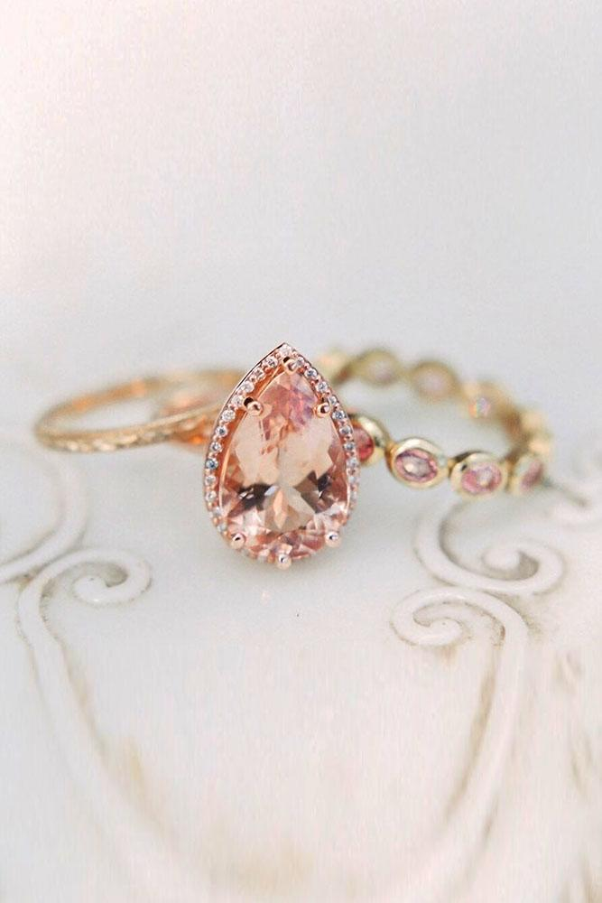 unique wedding rings wedding ring sets rose gold engagement rings halo engagement rings pear shaped engagement rings morganite rings