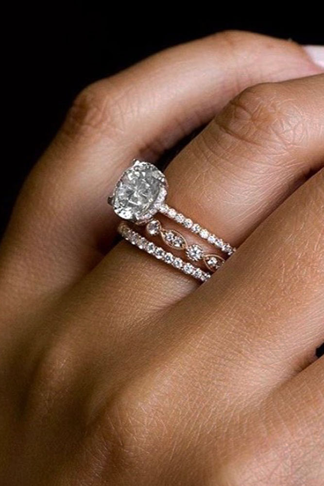 bridal sets rose gold wedding rings rose gold engagement rings diamond engagement rings round engagement rings