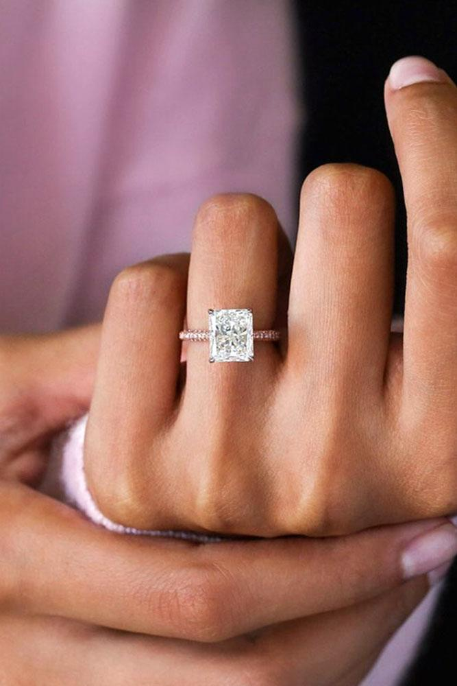rose gold engagement rings emerald cut diamond engagement rings beautiful engagement rings solitaire engagement rings
