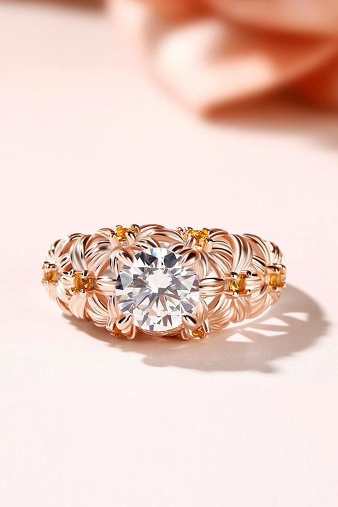 unique engagement rings floral engagement rings rose gold engagement rings beautiful engagement rings round diamond rings