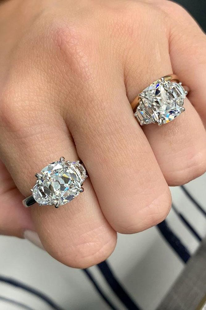 white gold engagement rings cushion cut engagement rings three stone engagement rings diamond engagement rings best rings
