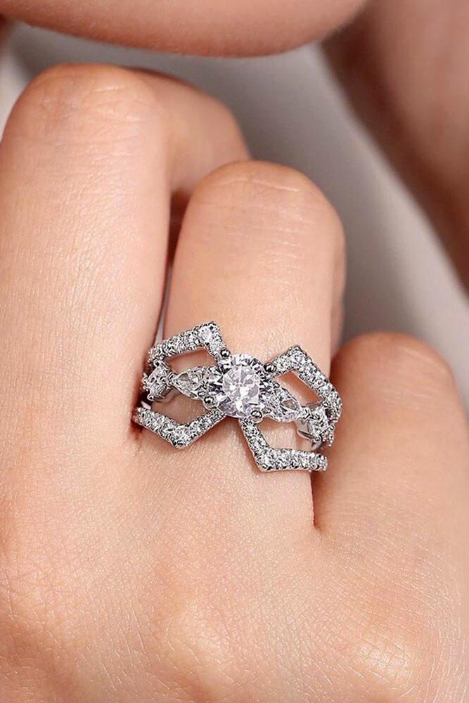 white gold engagement rings diamond engagement rings round engagement rings unique pave bands unique engagement rings