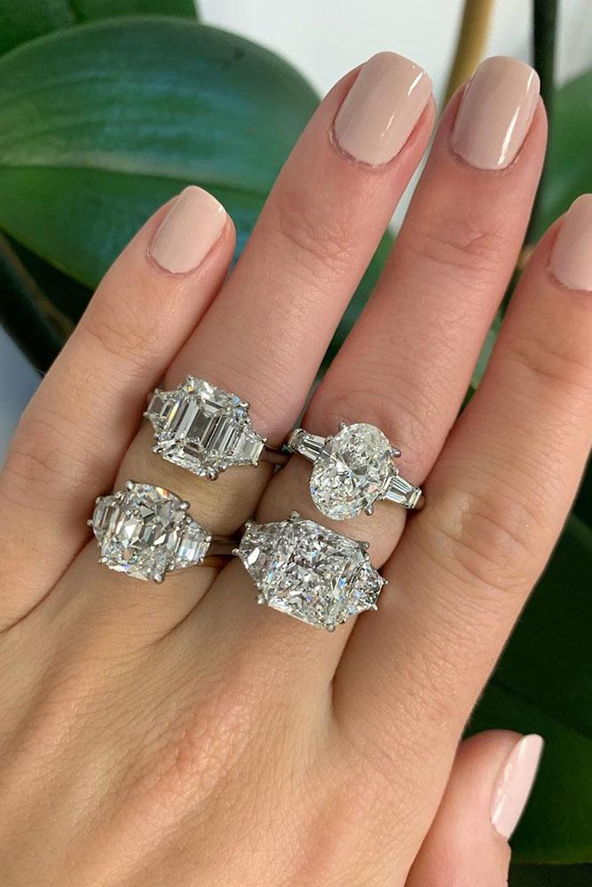 white gold engagement rings emerald cut engagement rings three stone engagement rings diamond engagement rings beautiful rings