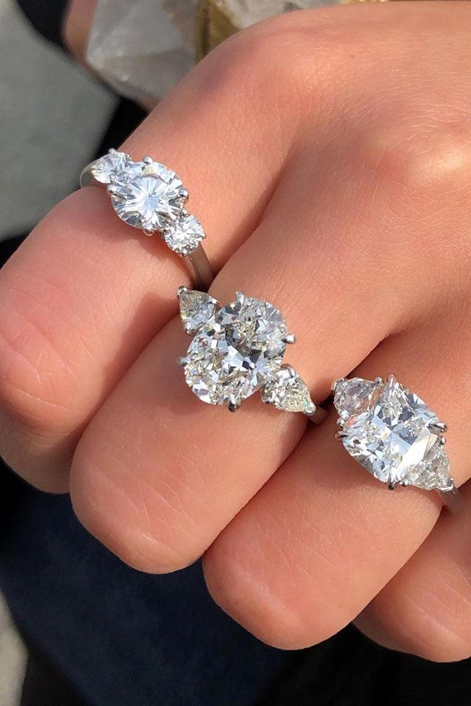 white gold engagement rings oval cut engagement rings three stone engagement rings diamond engagement rings best rings
