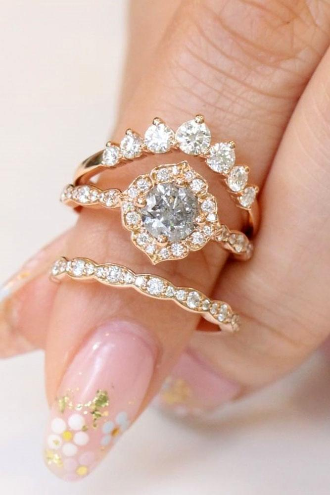 best rose gold engagement rings unique wedding rings floral wedding rings halo engagement rings