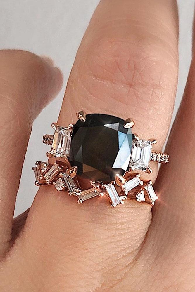 black diamond engagement rings unique wedding ring sets three stone engagement rings rose gold wedding rings bridal sets