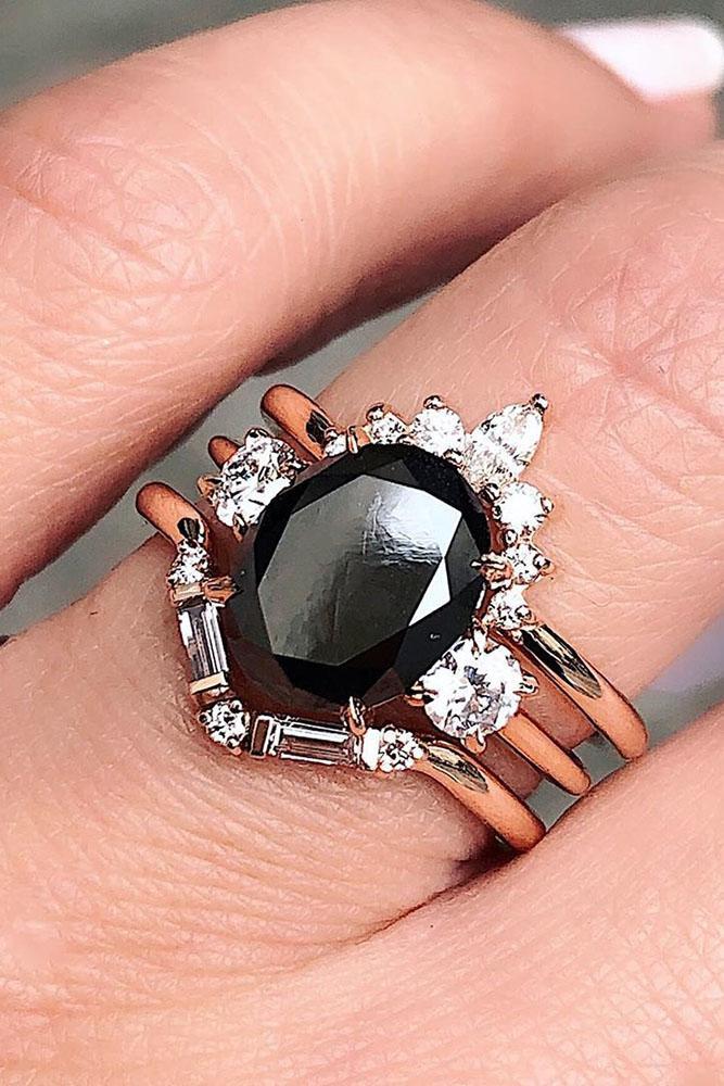 black diamond engagement rings unique wedding ring sets three stone engagement rings rose gold wedding rings
