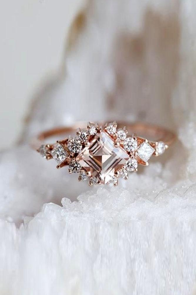 colored engagement rings morganite rings halo engagement rings diamond engagement rings rose gold engagement rings princess cut engagement rings