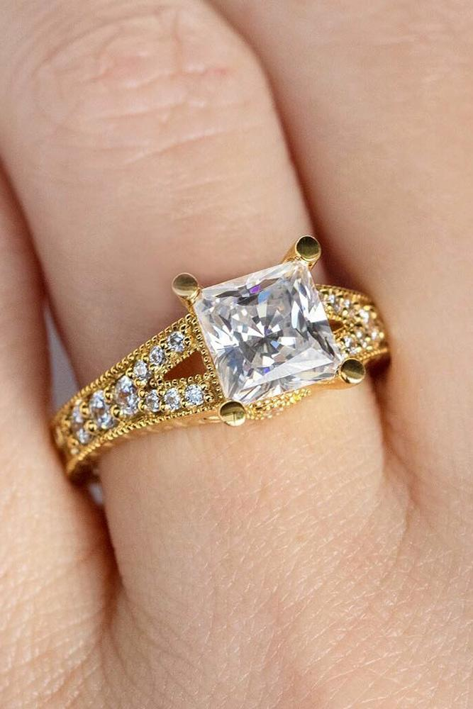 diamond engagement rings rose gold engagement rings princess cut engagement rings simple rings solitaire rings pave band