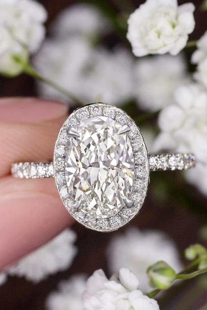 oval cut engagement rings white gold engagement rings diamond engagement rings halo engagement rings pave band