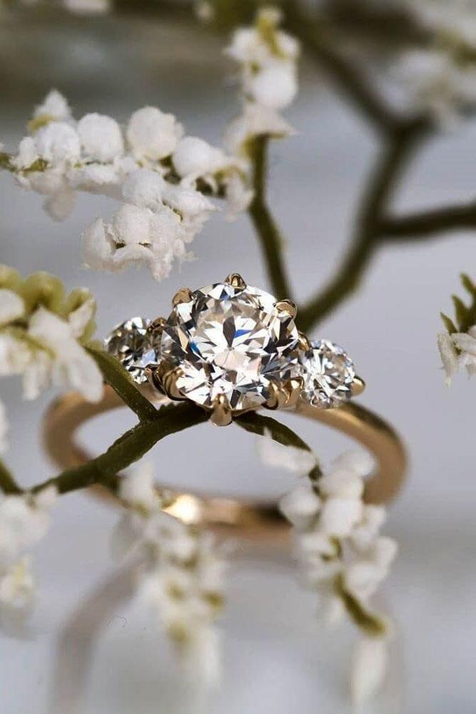 rose gold engagement rings diamond engagement rings three stone engagement rings round cut engagement rings best rings