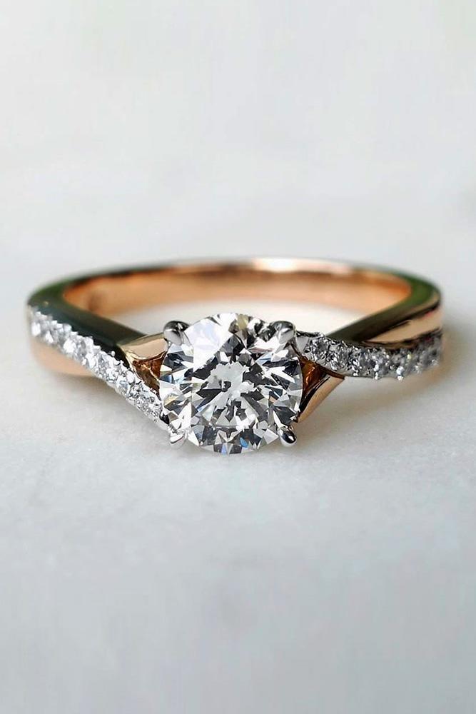 unique engagement rings rose gold engagement rings round cut diamond engagement rings unique pave band