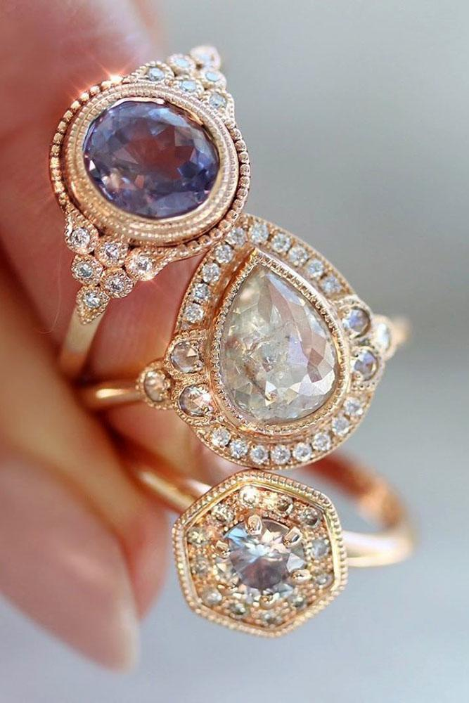 vintage engagement rings rose gold engagement rings unique engagement rings diamond engagement rings halo engagement rings