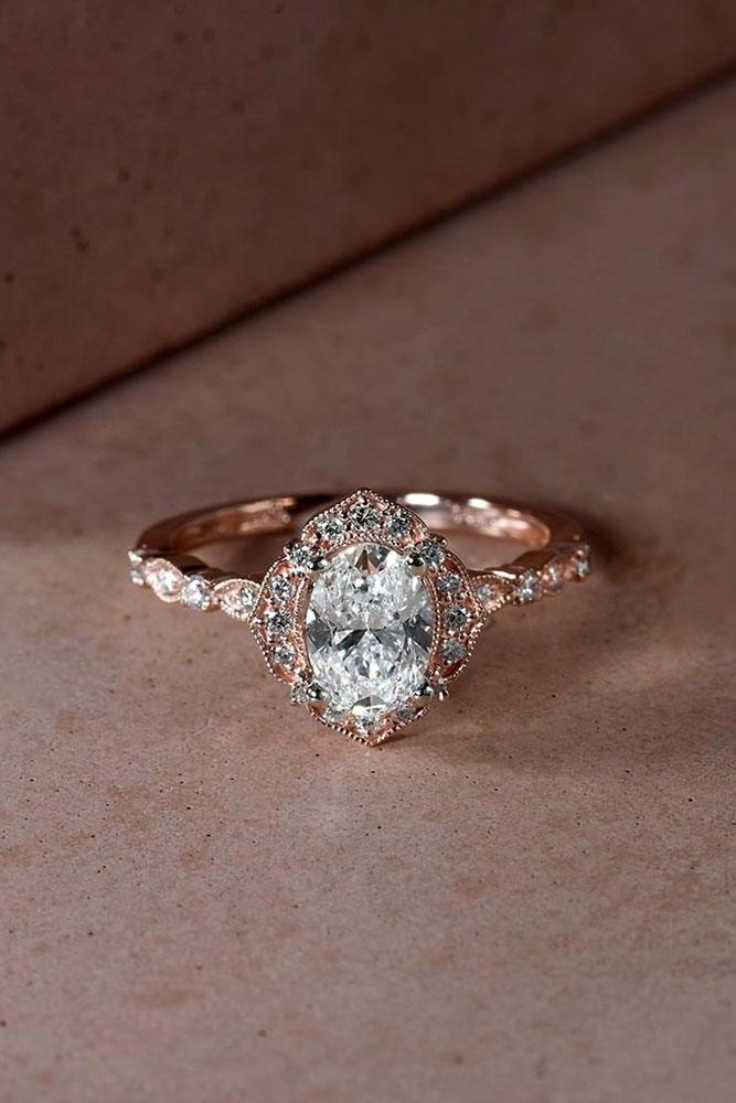 vintage engagement rings rose gold engagement rings unique engagement rings diamond engagement rings oval cut engagement rings