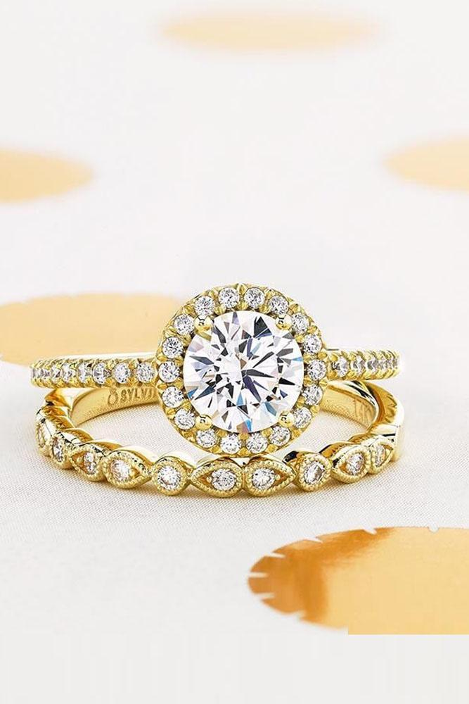 wedding ring sets yellow gold engagement rings halo engagement rings diamond rings