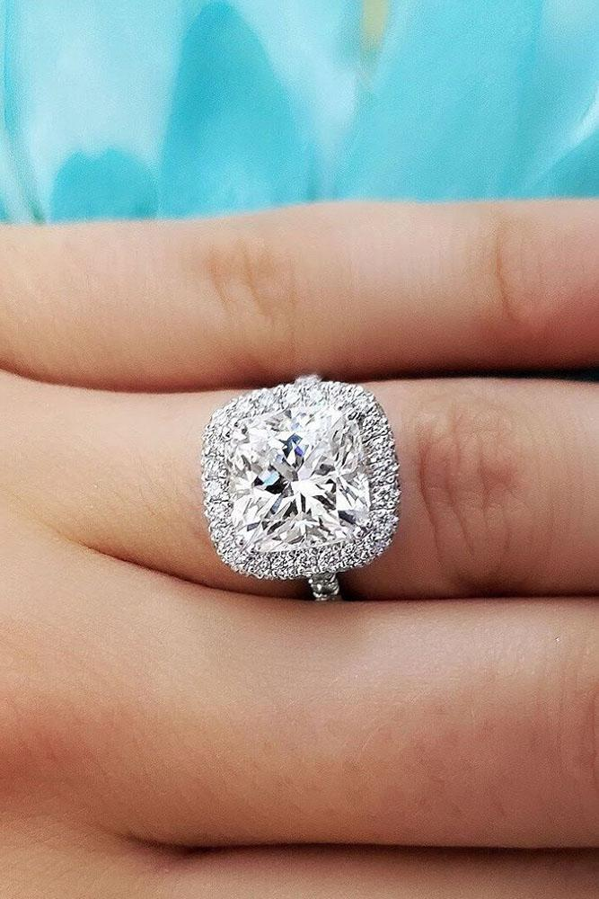 white gold engagement rings halo engagement rings diamond engagement rings cushion cut engagement rings pave band