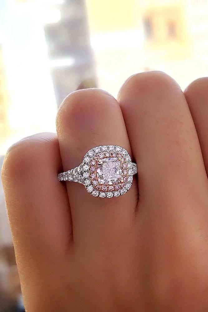 white gold engagement rings halo engagement rings double diamond engagement rings cushion cut engagement rings pave band
