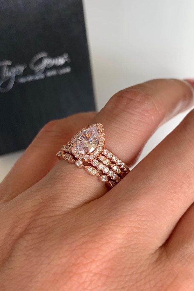 beautiful engagement rings rose gold engagement-rings pear shaped engagement rings bridal sets