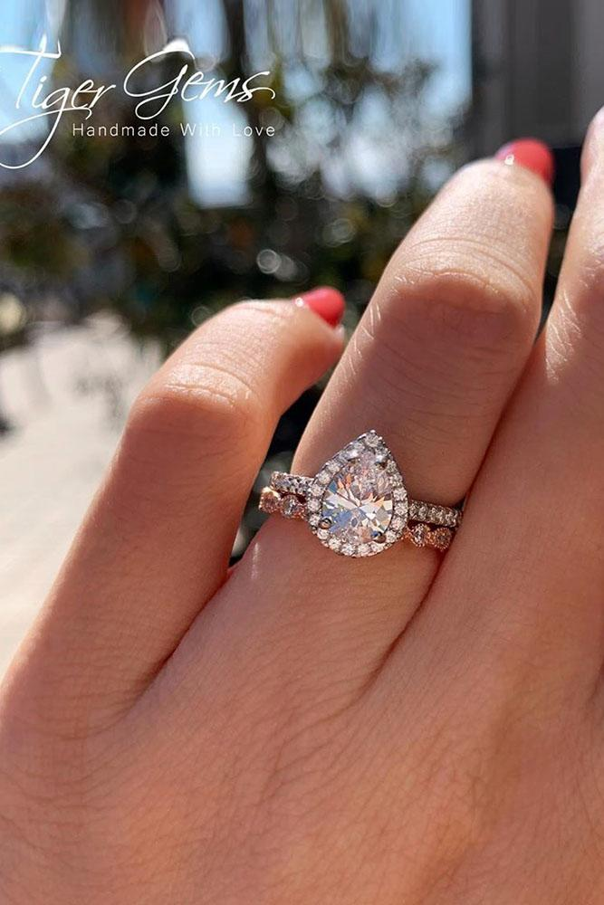 beautiful engagement rings rose gold engagement-rings pear shaped engagement rings halo rings