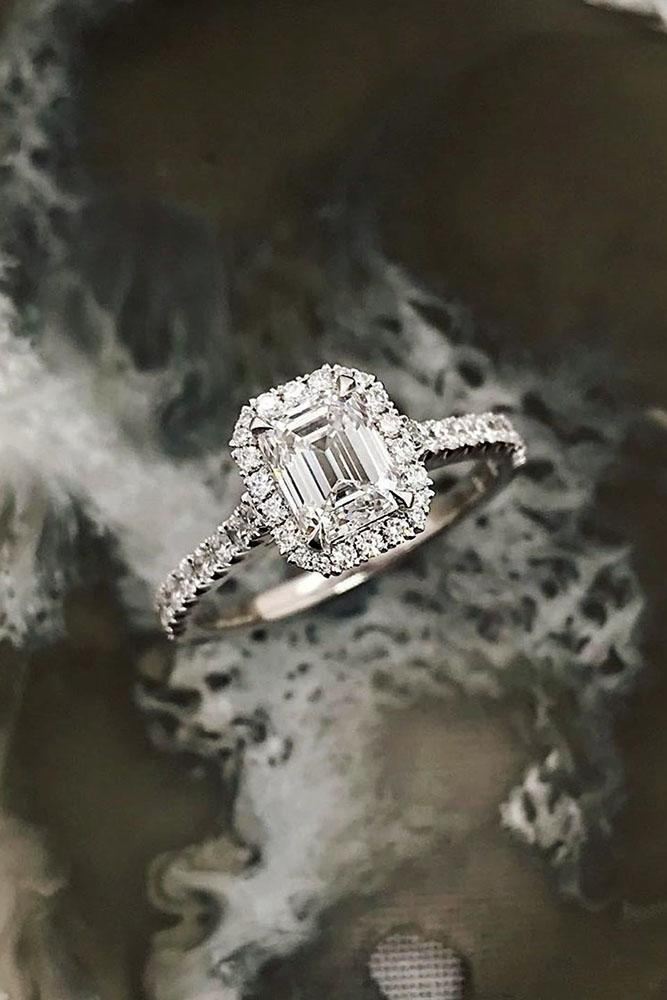 ring trends halo engagement rings white gold engagement emerald cut rings