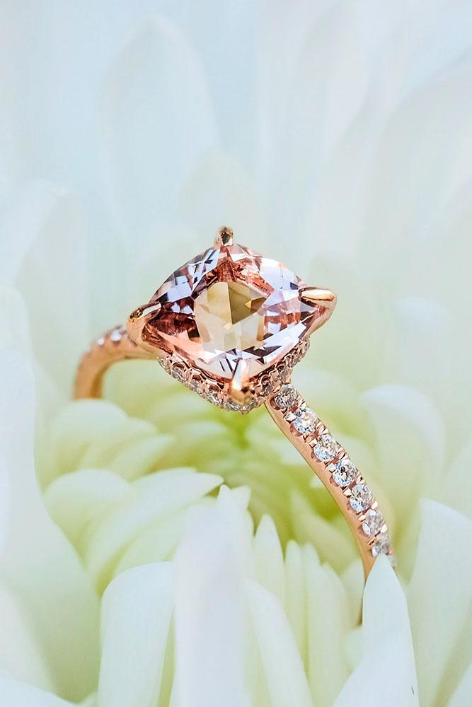 ring trends rose gold engagement rings cushion cut engagement rings simple engagement rings morganite rings