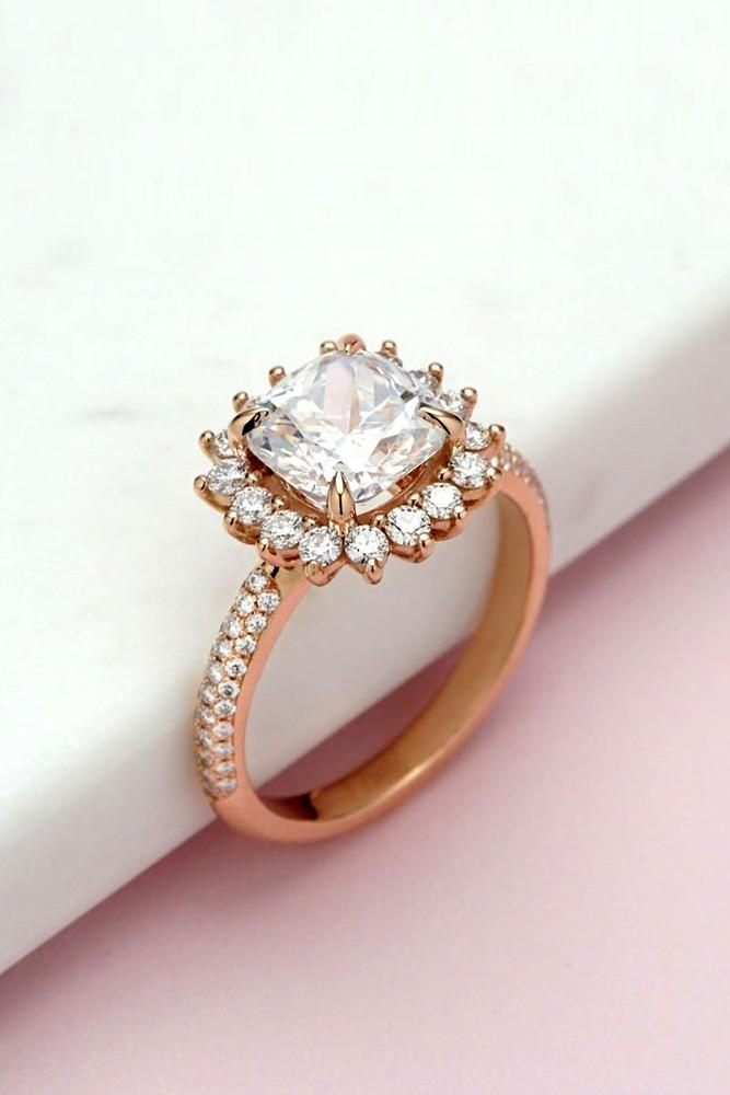 unique engagement rings rose gold engagement rings floral engagement rings halo engagement rings diamond engagement rings