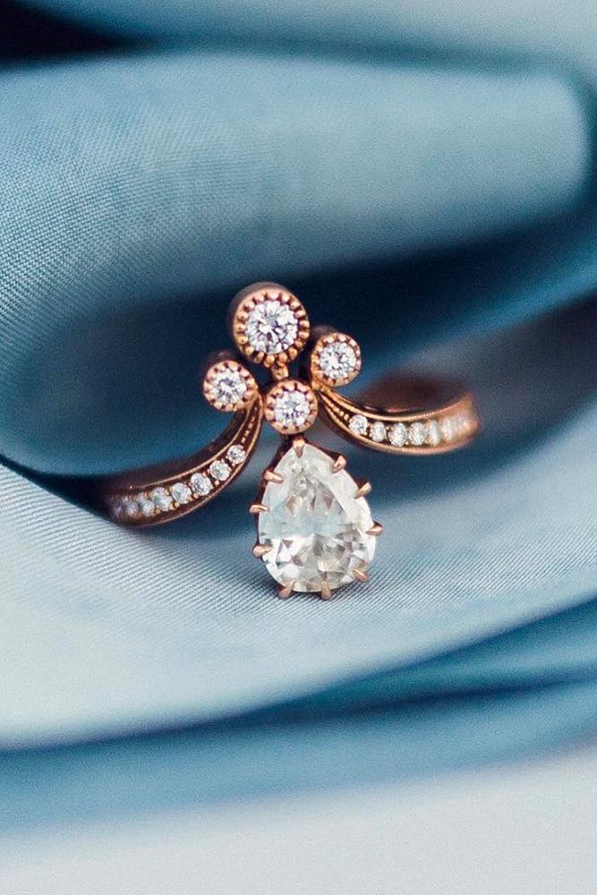 vintage engagement rings rose gold engagement rings pear shaped engagement rings unique engagement rings gemstone engagement rings