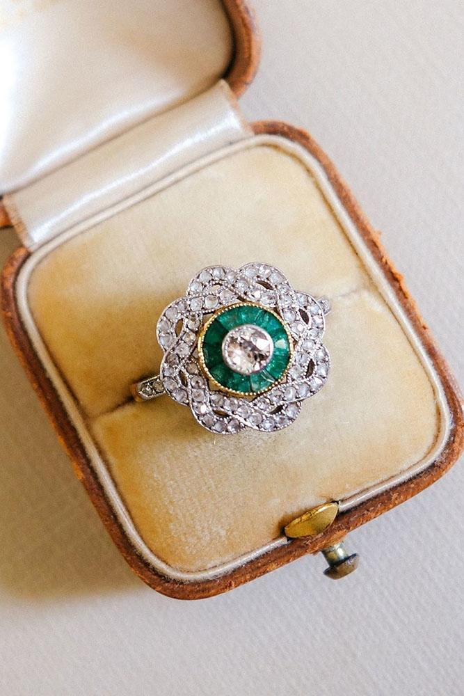 vintage engagement rings white gold engagement rings emerald engagement rings floral engagement rings