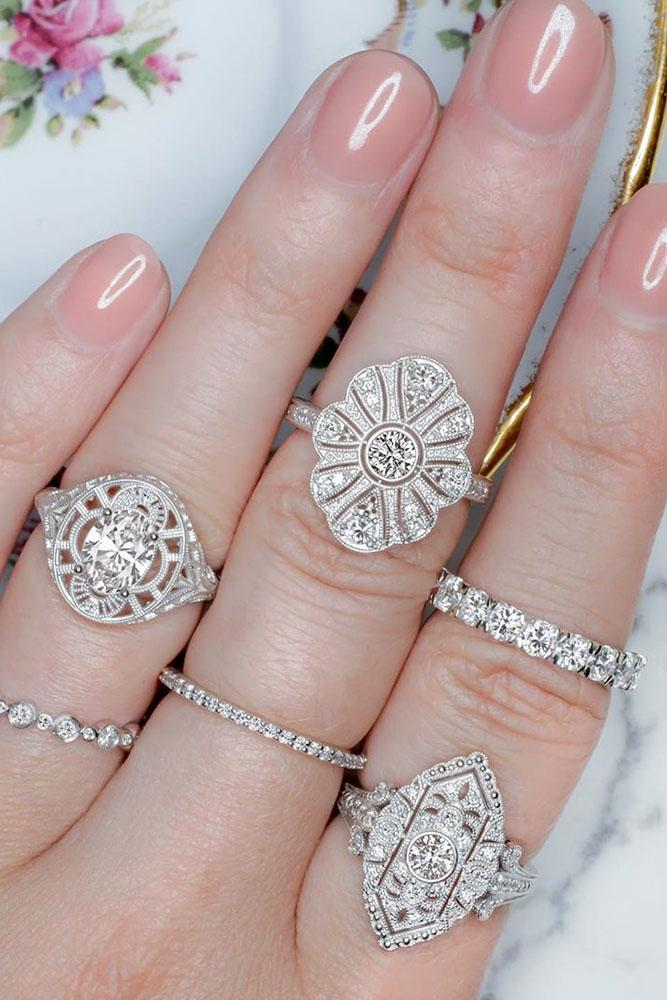 vintage engagement rings white gold engagement rings halo engagement rings unique engagement rings diamond engagement rings