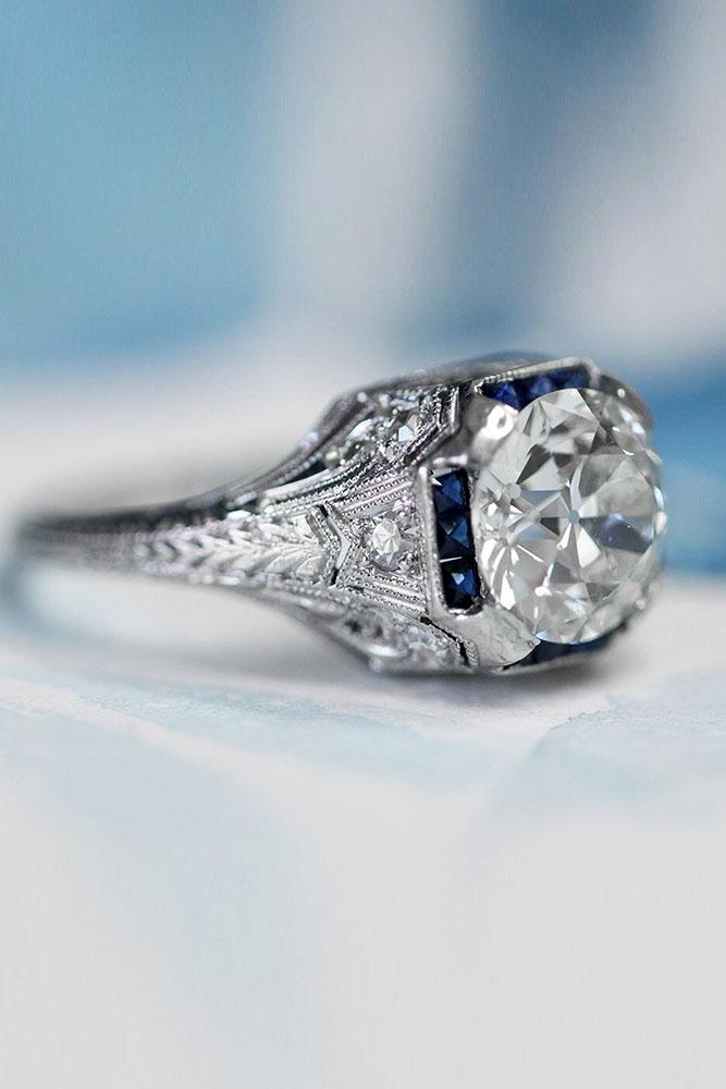 vintage engagement rings white gold engagement rings unique engagement rings sapphire engagement rings