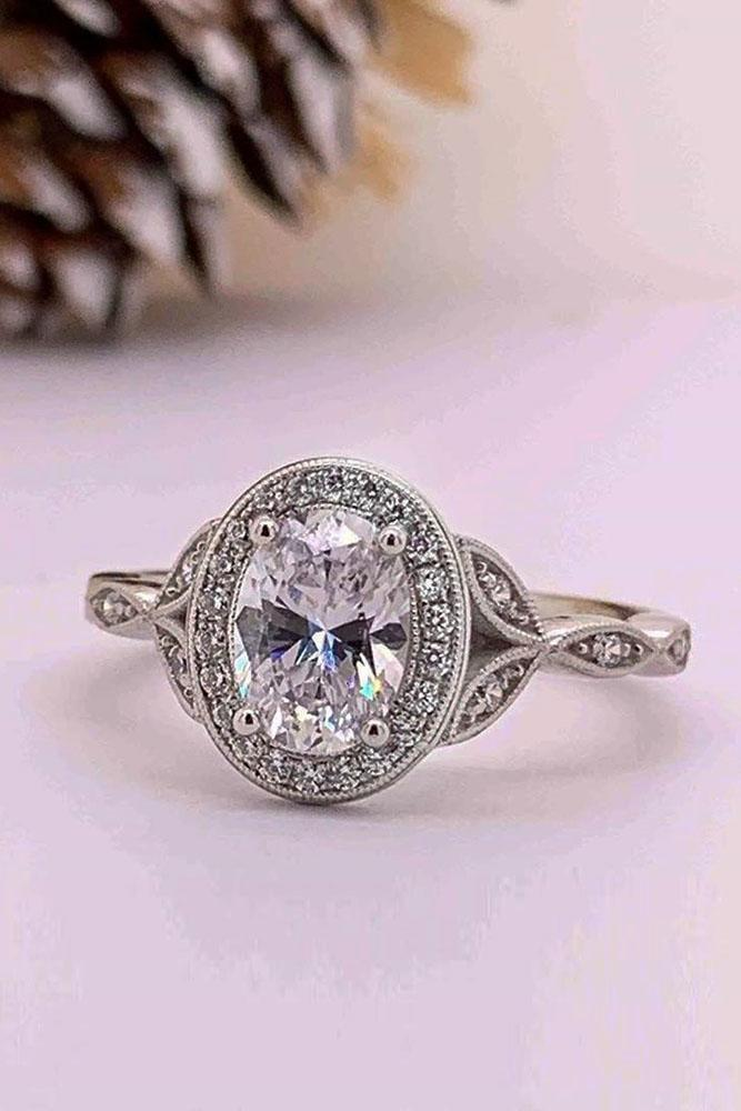 vintage engagement rings white gold engagement rings oval cut engagement rings halo engagement rings diamond engagement rings