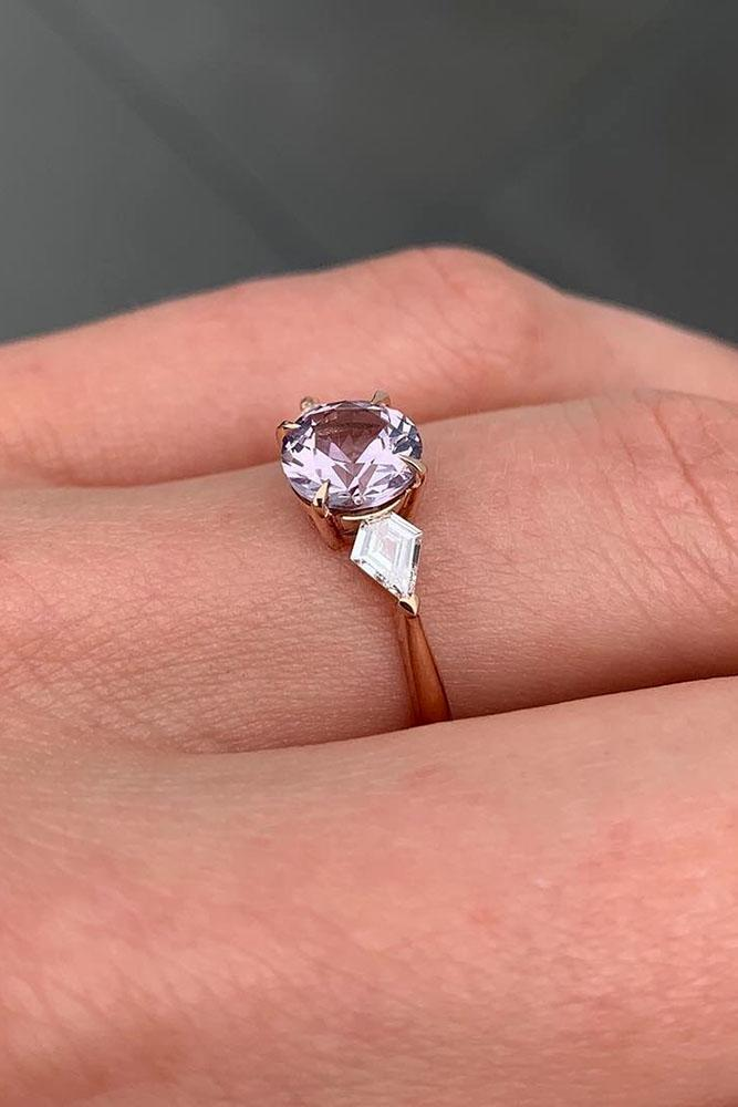 best rose gold engagement rings gemstone ring three stone ring