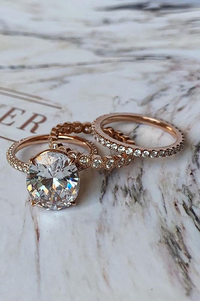 diamond wedding rings rose gold wedding ring sets round diamond rings bridal sets