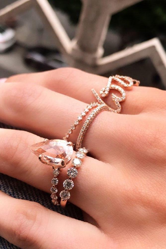 rose gold wedding rings morganite engagement rings pear-cut engagement rings bridal sets