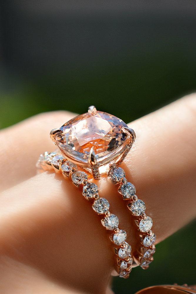 rose gold wedding rings morganite engagement rings simple rings bridal sets