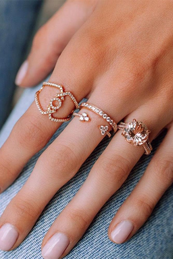 rose gold wedding rings morganite engagement rings wedding bands bridal sets