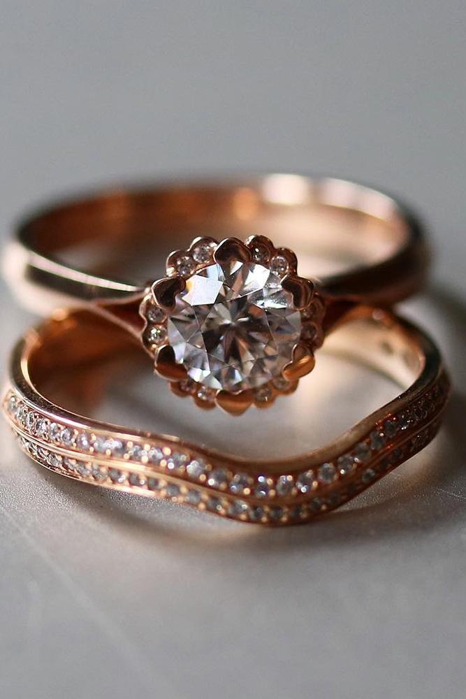 rose gold wedding rings round engagement rings wedding rings bridal sets
