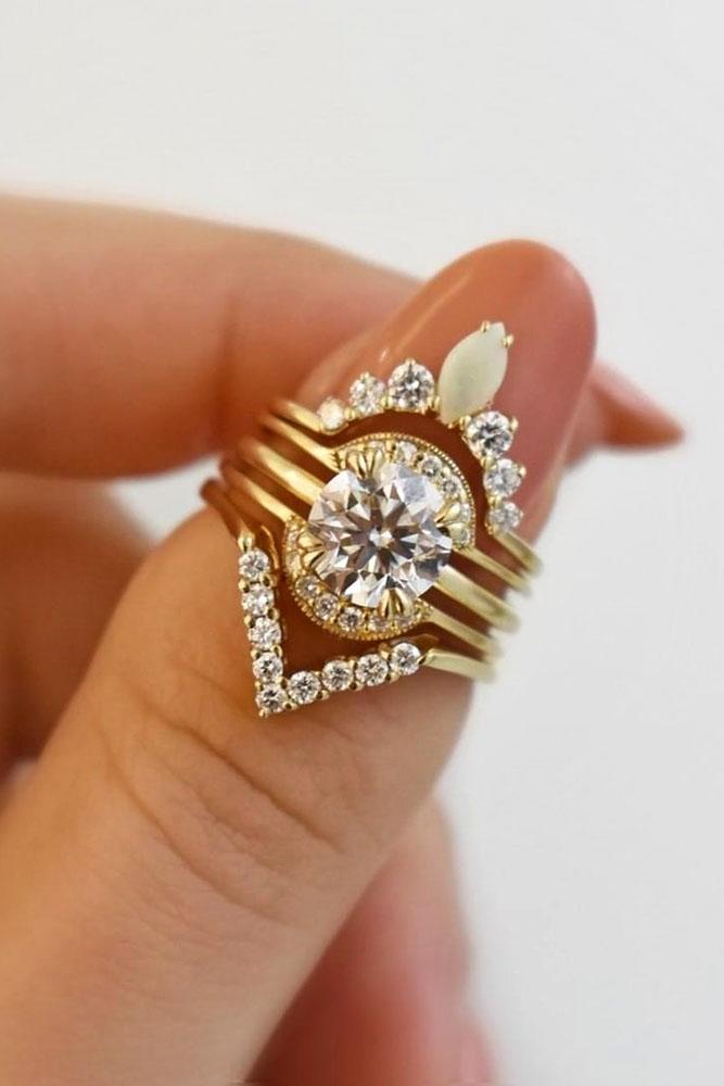 diamond wedding rings unique wedding rings rose gold wedding rings bridal sets round cut rings