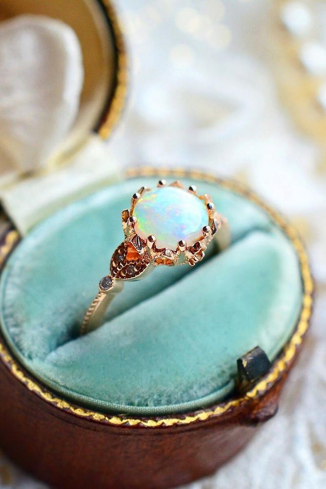 colored engagement rings opal engagement rings rose gold engagement rings