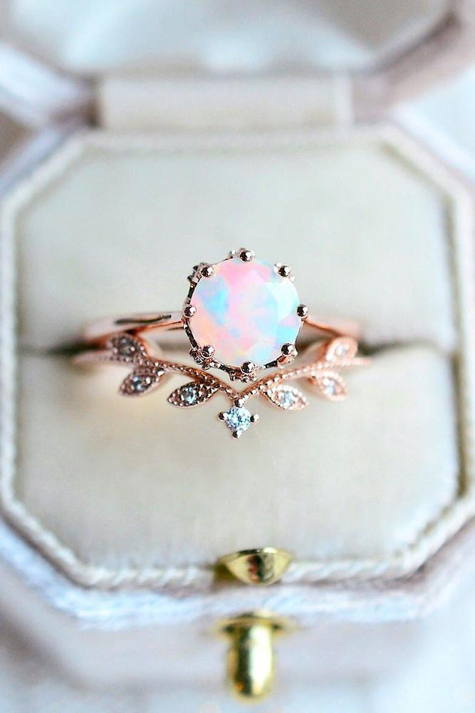 colored engagement rings opal engagement rings rose gold engagement rings unique engagement rings