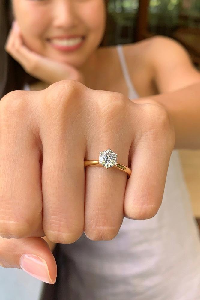 diamond engagement rings rose gold engagement rings round cut engagement rings