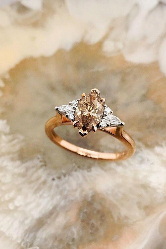 rose gold engagement rings champagne diamond engagement rings beautiful engagement rings marquise cut rings