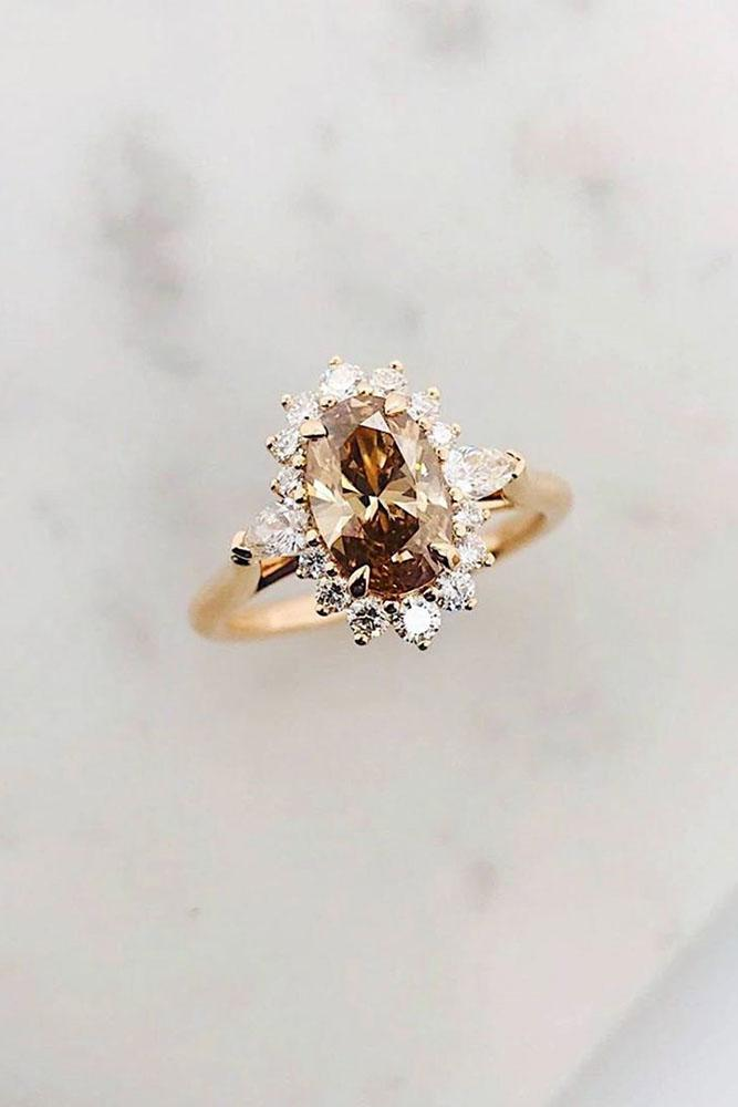 rose gold engagement rings champagne diamond engagement rings oval cut engagement rings halo rings
