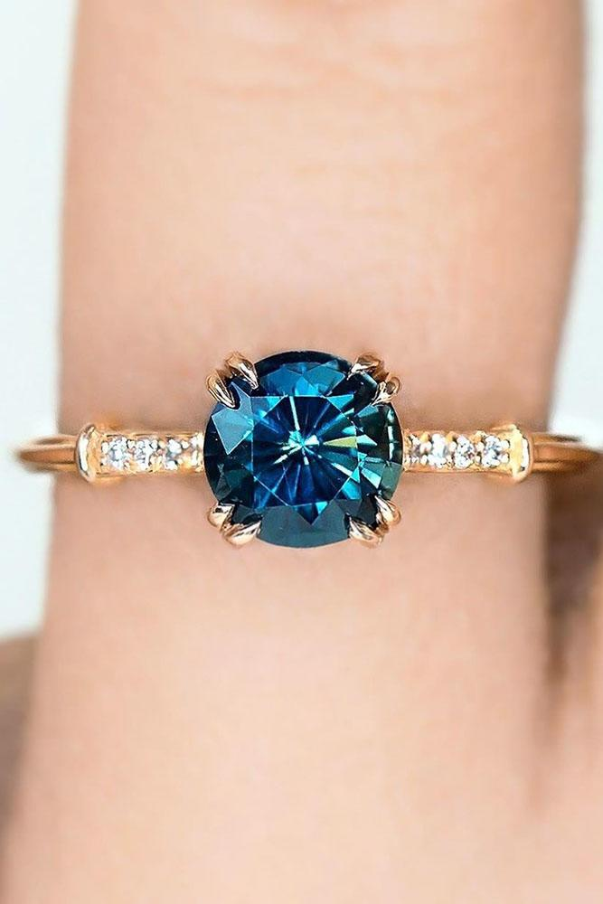 sapphire engagement rings solitaire engagement rings round cut engagement rings rose gold engagement rings