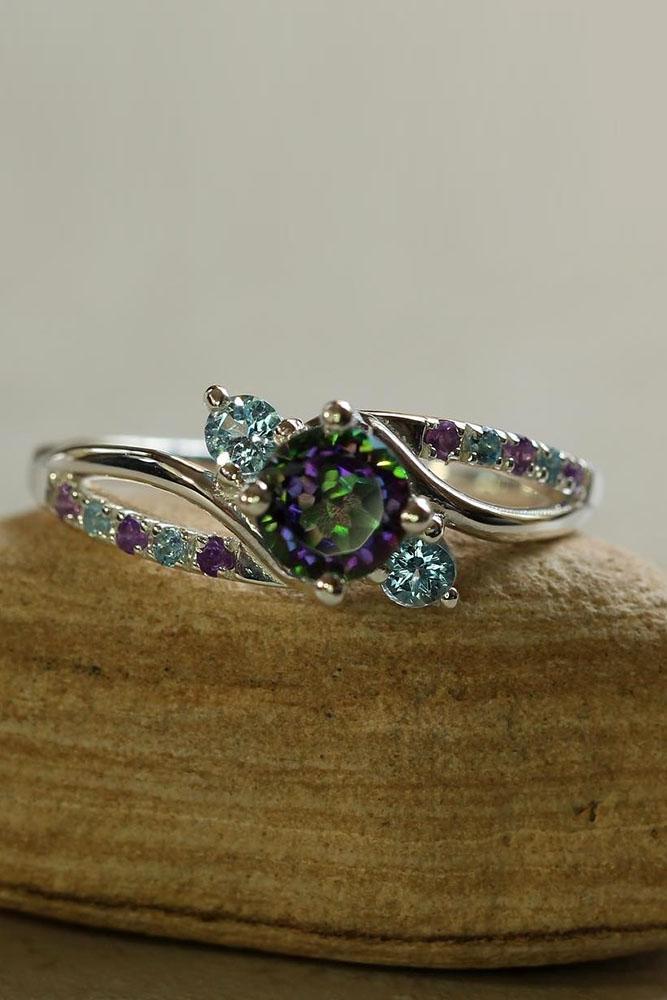 unique engagement rings aquamarine engagement rings white gold engagement rings