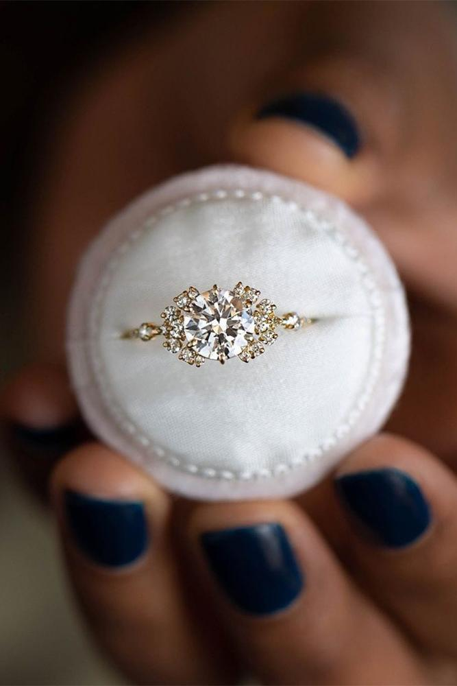 unique engagement rings round cut gold diamond rings