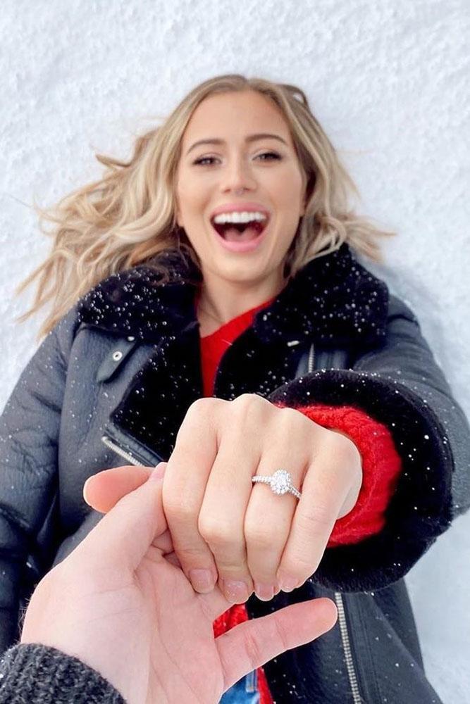 winter engagement photos engagement announcement enaggement ring